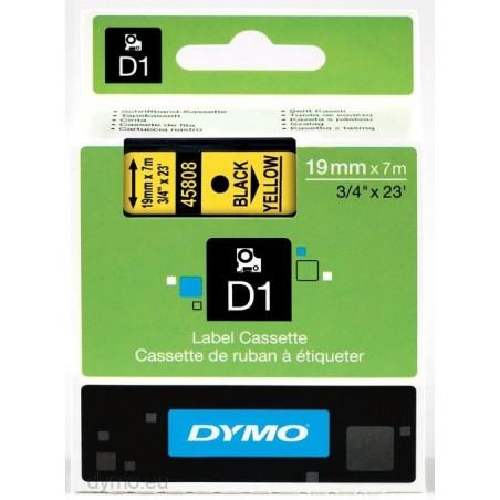 DYMO - D1 - Etiquetas estndar - Negro sobre amarillo - 19mm x 7m