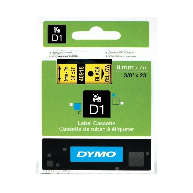 DYMO - D1 - Etiquetas estndar - Negro sobre amarillo - 9mm x 7m