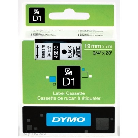 DYMO - D1 - Etiquetas estndar - Negro sobre blanco - 19mm x 7m
