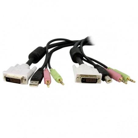 StarTechcom - Cable de 18m para Switch Conmutador KVM 4en1 DVI-D Dual Link Doble Enlace USB con Audio Micrfono
