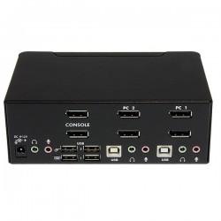 StarTechcom - Conmutador Switch KVM - 2 puertos USB 20 - Audio Vdeo DisplayPort 2 Monitores