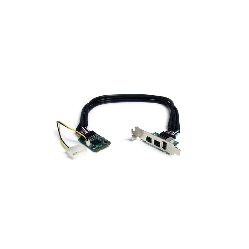 StarTechcom - Adaptador Tarjeta Mini PCI Express PCIe FireWire 2 Puertos 1394b FW800 1 Puerto 1394a FW400