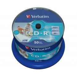 Verbatim - CD-R AZO Wide Inkjet Printable no ID 700 MB 50 piezas