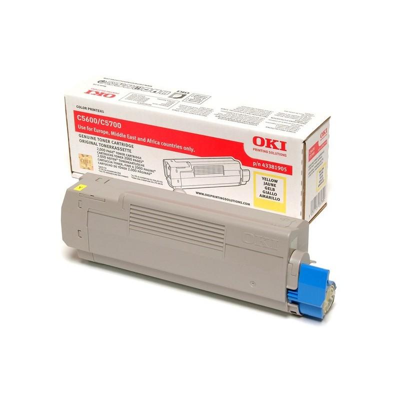OKI - 43381905 cartucho de tner Original Amarillo 1 piezas