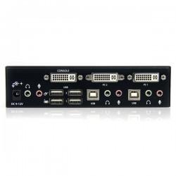 StarTechcom - Conmutador Switch KVM - 2 puertos - USB 20 - Audio Vdeo DVI de Doble Enlace