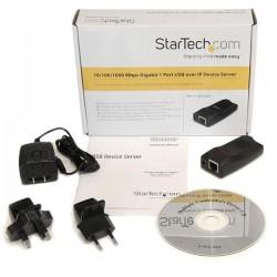 StarTechcom - Servidor de Dispositivos 1 Puerto USB 20 Sobre Red Gigabit Ethernet con IP - Adaptador Conversor