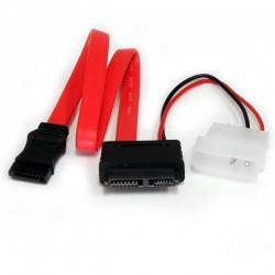 StarTechcom - Cable Adaptador SATA de Lnea Delgada a SATA con Alimentacin LP4 - 12 pulgadas