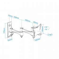 TooQ - SOPORTE GIRATORIO E INCLINABLE PARA MONITOR / TV LCD PLASMA Y LED 3 PIVOTES DE 10-23 NEGRO