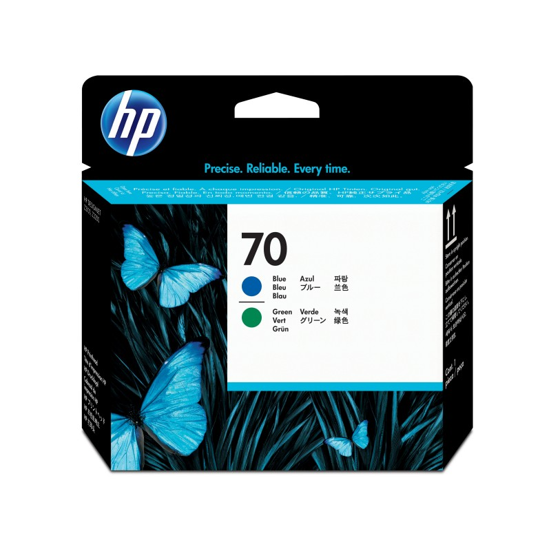 HP - Cabezal de impresin DesignJet 70 azul y verde