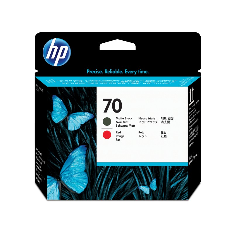 HP - Cabezal de impresin DesignJet 70 rojo/negro mate
