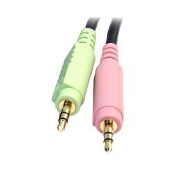 StarTechcom - Cable Conmutador KVM USB DisplayPort 4 en 1 c/ Audio y Micrfono - 6 pies