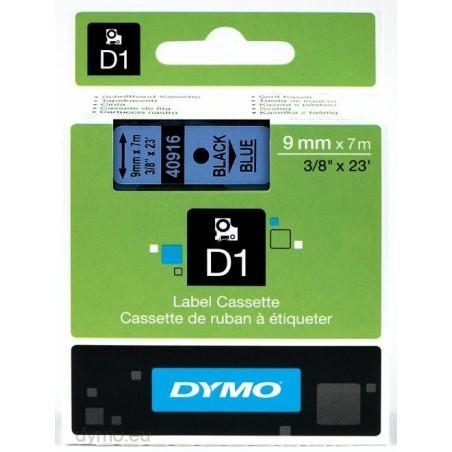 DYMO - D1 - Etiquetas estndar - Negro sobre azul - 9mm x 7m