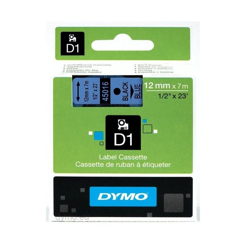 DYMO - D1 - Etiquetas estndar - Negro sobre azul - 12mm x 7m