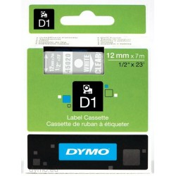DYMO - D1 - Etiquetas estndar - Blanco sobre transparente - 12mm x 7m