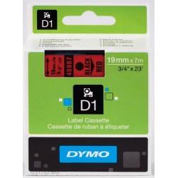 DYMO - D1 - Etiquetas estndar - Negro sobre rojo - 19mm x 7m