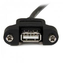 StarTechcom - Cable Alargador de 30cm USB 20 para Montar Empotrar en Panel - Extensor Macho a Hembra USB A - Negro