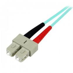 StarTechcom - Cable Patch de Fibra LSZH Duplex Multimodo Aqua 50/125 10 Gb 2m LC - SC