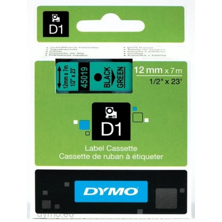 DYMO - D1 - Etiquetas estndar - Negro sobre verde - 12mm x 7m