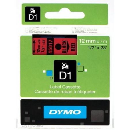 DYMO - D1 - Etiquetas estndar - Negro sobre rojo - 12mm x 7m