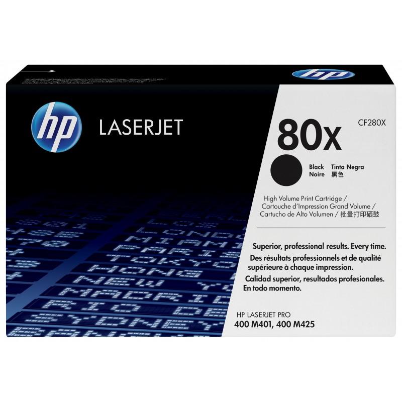 HP - 80X svart LaserJet-tonerkassett med hg kapacitet original 1 piezas Negro