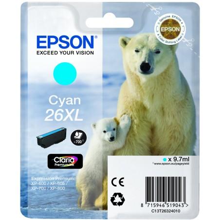 Epson - Polar bear Cartucho 26XL cian - C13T26324010
