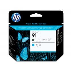 HP - Cabezal de impresin 91 negro mate y cian