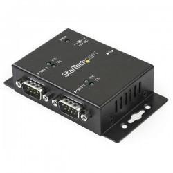 StarTechcom - Concentrador Hub Industrial de 2 Puertos Serie Serial RS232 a USB Montaje Riel DIN Pared