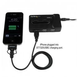 StarTechcom - Adaptador Concentrador HUB Ladrn USB 6 Puertos - 2x USB 30 -4x USB 20 - 1x USB Cargador de 2A