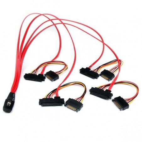 StarTechcom - Cable de 50cm SAS Serial Attached SCSI SFF 8087 a 4x SATA Datos y Corriente Alimentacin - Rojo