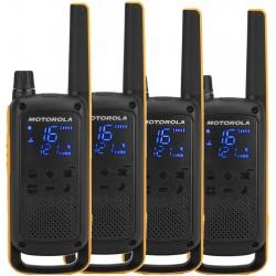 Motorola - Talkabout T82 Extreme Quad Pack two-way radios 16 canales Negro Naranja