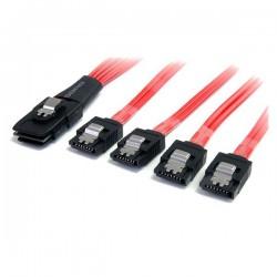 StarTechcom - Cable de 1m SAS Serial Attached SCSI SFF 8087 a 4x SATA con Cierre de Seguridad Latches - Rojo