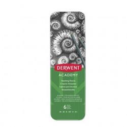 Derwent - Academy lpiz de carbn Gris 6 piezas